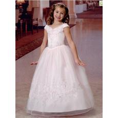 Girls Pretty Princess V-Neck Long White First Communion Dress