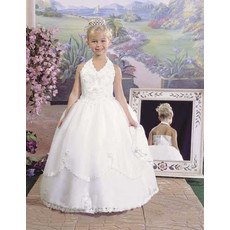 Girls Pretty Halter Ball Gown Floor Length Satin Catholic First Holy Communion Dress