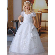 Girls Floor Length Catholic First Communion Dress/ Cap Sleeves Satin Flower Girl Dress