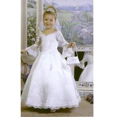 Girls Ball Gown First Communion Dress/ Long Sleeves Flower Girl Dress
