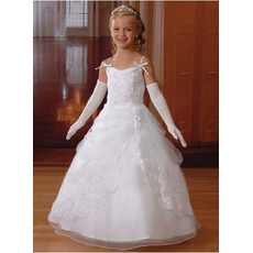 Girls Beautiful First Communion Dress with Lace Jackets/ Cute Satin Flower Girl Dress