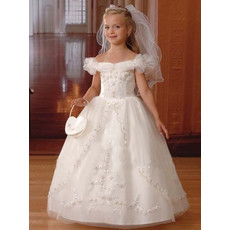 Girls Pretty White Puff Sleeves First Communion Dress/ Tulle Bubble Skirt Flower Girl Dress