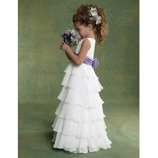 Pretty Classic A-Line Floor Length Chiffon Flower Girl/ First Communion Dress