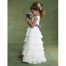 Pretty Classic A-Line Floor Length Chiffon Flower Girl/ First Communion Dress
