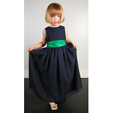 Little Girls Dark Navy Satin Sash Easter Girls Dress/ Flower Girl Dress