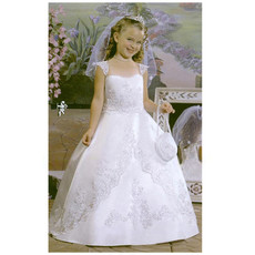 Girls Pretty Classic Princess Ball Gown Long First Communion Dress