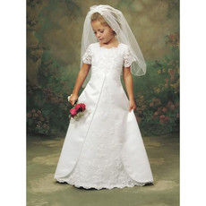 A-Line Lace First Communion Dress/ Cute Full Length Short Sleeves Flower Girl Dress
