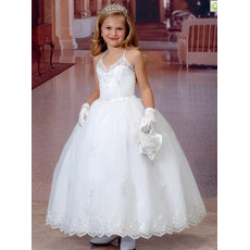 Little Girls Princess Ball Gown Spaghetti Straps Organza First Communion Dress