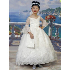 Classic Princess Ball Gown Long Sleeves Satin First Holy Communion Dress