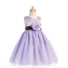Inexpensive Cute A-Line Asymmetric Tea Length Satin Tulle Flower Girl Dress