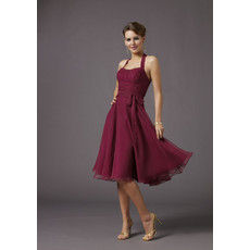 Inexpensive Simple Classic A-line Bridesmaid Dress/ Halter Knee Length Chiffon Satin Wedding Party Dress with sash