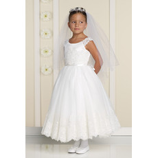 Affordable Classic Beautiful A-Line Round Ankle Length Applique Tulle Flower Girl/ First Communion Dress