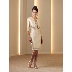 Classic Knee Length Beaded Satin Mother of the Bride/ Groom Dress Outfits