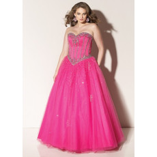 Classic Princess Ball Gown Strapless Sweetheart Long Organza Plus Size Prom Dress