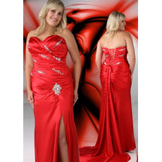 Sweetheart Court Train Plus Size Split-Front Prom/ Evening Dress