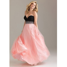 Affordable A-Line Sweetheart Floor Length Organza Plus Size Evening Dress