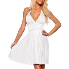 Chiffon Halter White Graduation Dress/ Pleated Sheath Short Cocktail Dress