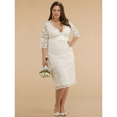 Custom Designer V-Neck Knee Length Lace Plus Size Wedding Dress with Sleeves