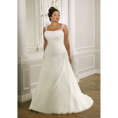 Discount Custom Classic Long Satin Plus Size Bridal Gowns with Detachable Straps