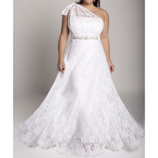 Inexpensive A-Line Lace Garden Plus Size Wedding Dress/ One Shoulder Bridal Gown
