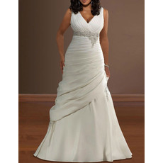 Classic Pleated V-Neck Satin Sweep Train Plus Size Wedding Dress
