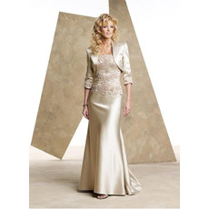 Affordable Mermaid Applique Sweep Train Satin Mother of the Bride/ Groom Dress with Jackets