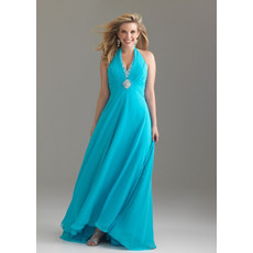 Discount Simple Halter Backless Long Chiffon Plus Size Evening Wear Dress