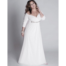 Affordable Empire V-Neck Chiffon Plus Size Wedding Dress with Long Sleeves