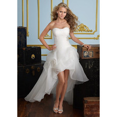 Affordable A-Line Sweetheart Petite Applique Organza High-Low Garden Wedding Dress