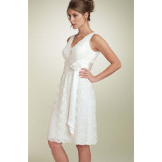 Affordable Simple A-Line V-Neck Short White Lace Prom Dress for Homecoming
