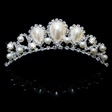 Inexpensive Beautiful Alloy With Pearl Bridal Wedding Tiara