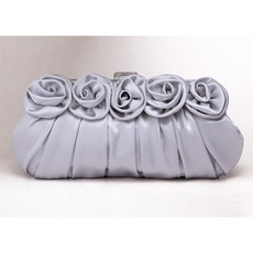 Inexpensive Silk Evening Handbags/ Clutches/ Purses with Flower