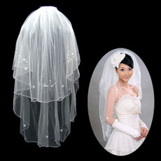 Affordable 2 Layers Tulle Wedding Veil with Applique for Bride