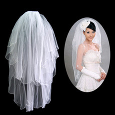 Cheap 2 Layers Tulle Wedding Veil with Beading for Bride