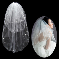 Inexpensive 3 Layers Tulle Wedding Veil with Embroidery for Bride