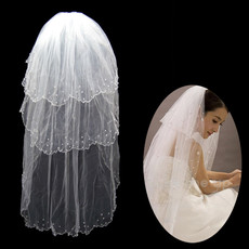 Inexpensive 3 Layers Tulle Wedding Veil with Beading for Bride
