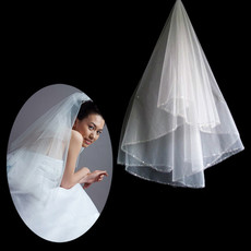 Beautiful 1 Layer Tulle Wedding Veil with Beading for Bride