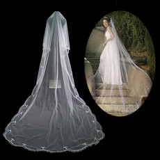Beautiful 1 Layer Tulle Wedding Veil with Embroidery for Bride