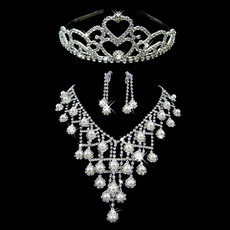 Inexpensive Beautiful Crystal Earring Necklace Tiara Set Wedding Bridal Jewelry Collection