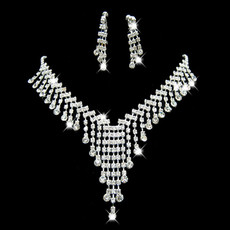 Cheap Crystal Earring Necklace Set Wedding Bridal Jewelry Collection