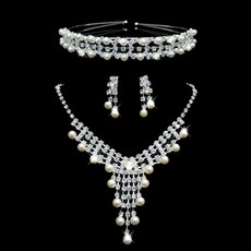 Crystal and Pearl Earring Necklace Tiara Set Wedding Bridal Jewelry Collection