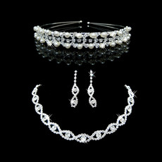 Pretty Crystal and Pearl Earring Necklace Tiara Set Wedding Bridal Jewelry Collection