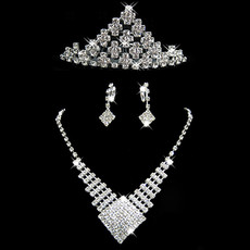 Inexpensive Crystal Earring Necklace Tiara Set Wedding Bridal Jewelry Collection