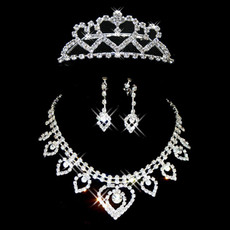 Affordable Crystal Earring Necklace Tiara Set Wedding Bridal Jewelry Collection