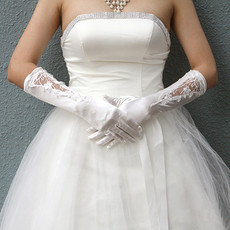 Inexpensive Beautiful Elastic Satin Elbow Wedding Gloves with Applique