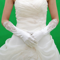 Beautiful Elastic Satin Elbow Wedding Gloves with Emboidery for Bride