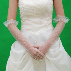 Beautiful Voile Elbow Wedding Gloves with Ruffle for Bride