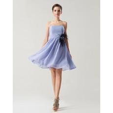 Simple A-Line Strapless Knee Length Chiffon Bridesmaid Dress for Summer Wedding