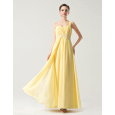 Designer Empire Waist One Shoulder Long Yellow Chiffon Bridesmaid Dress