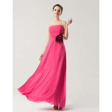 Affordable Empire Strapless Sleeveless Full Length Chiffon Bridesmaid Dress with Feather